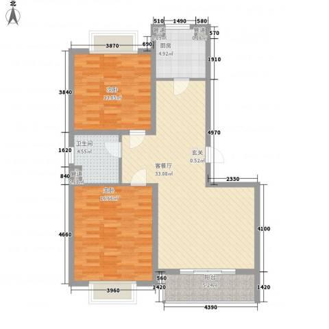 龙泽家园2室1厅1卫1厨108.00㎡户型图