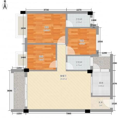 大福名城3室1厅2卫1厨88.00㎡户型图