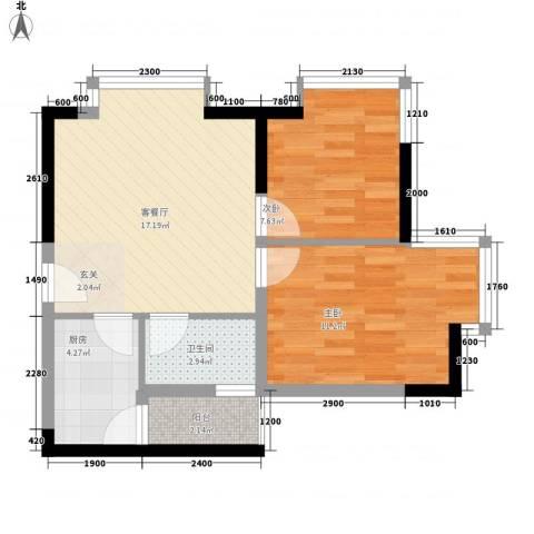 梦泽园美美公馆2室1厅1卫1厨66.00㎡户型图