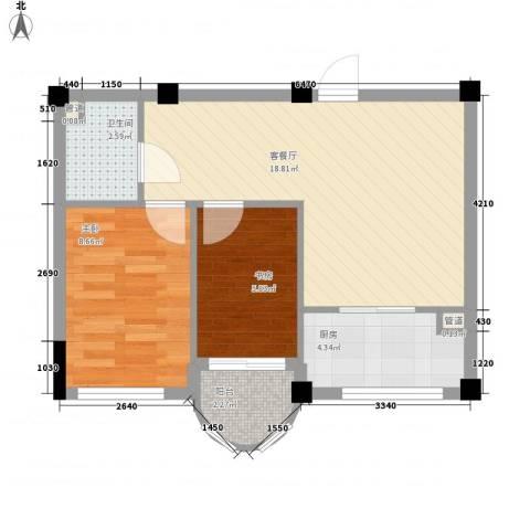 光伸绿洲半岛北岸2室1厅1卫1厨62.00㎡户型图