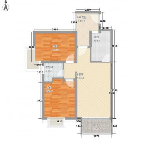 阅海观山・温泉度假村2室1厅1卫1厨81.00㎡户型图