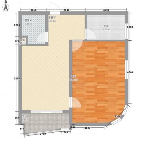 光伸绿洲半岛北岸1室1厅1卫1厨87.00㎡户型图