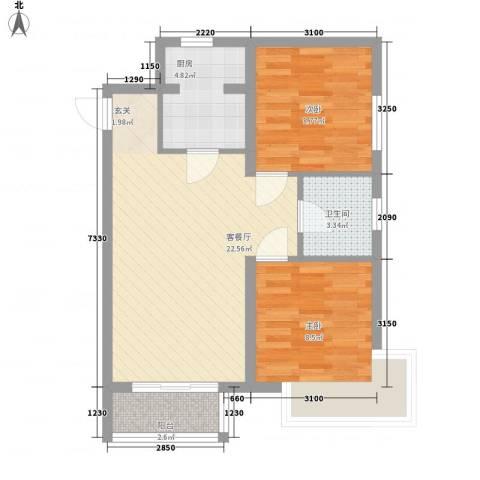 新希望乐城2室1厅1卫1厨76.00㎡户型图