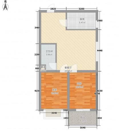 景泰花苑2室1厅1卫1厨86.00㎡户型图