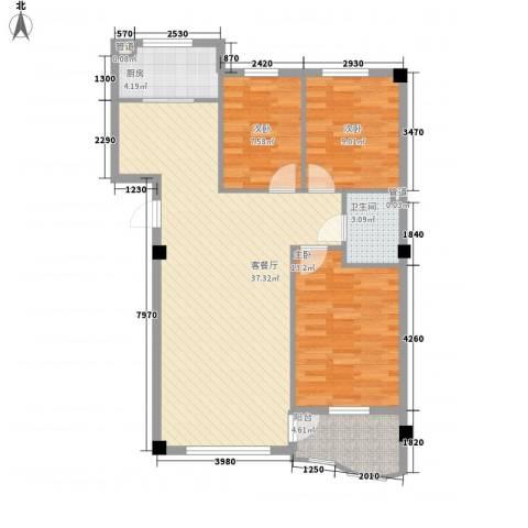 光伸绿洲半岛北岸3室1厅1卫1厨110.00㎡户型图