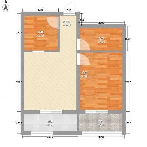景泰花苑3室1厅0卫1厨65.00㎡户型图