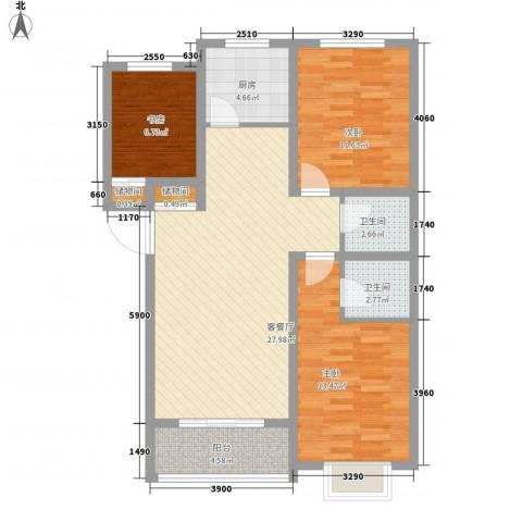 帝景公馆3室1厅2卫1厨118.00㎡户型图