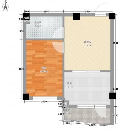 光伸绿洲半岛北岸1室1厅1卫1厨52.00㎡户型图