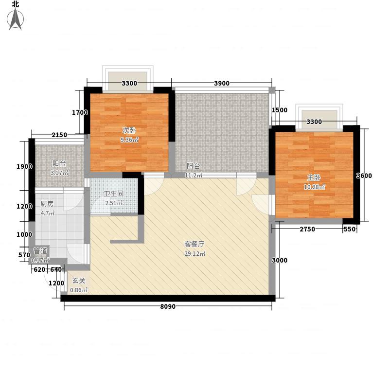 泰丰御园88.58㎡F型户型2室2厅1卫1厨