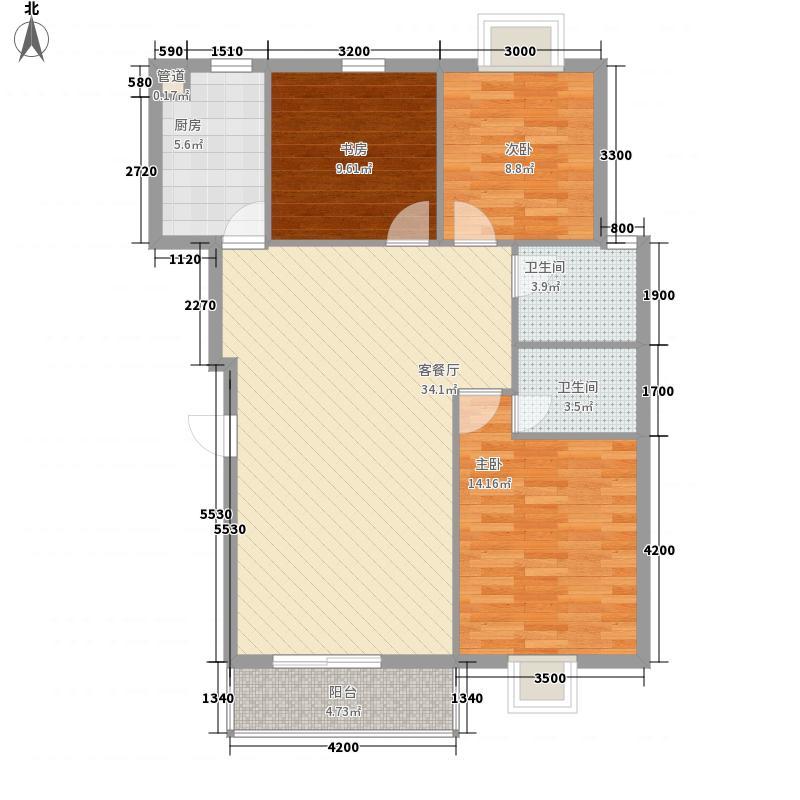 海润・黄金海岸1.36㎡16、17号楼B型户型3室2厅2卫1厨