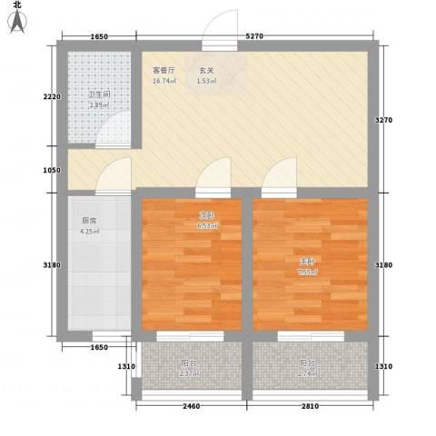 新希望乐城2室1厅1卫1厨66.00㎡户型图