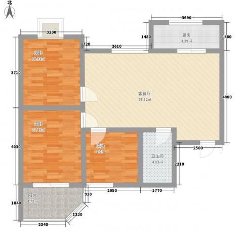 景泰花苑3室1厅1卫1厨103.00㎡户型图