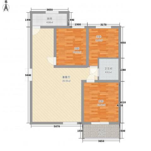 景泰花苑3室1厅1卫1厨116.00㎡户型图