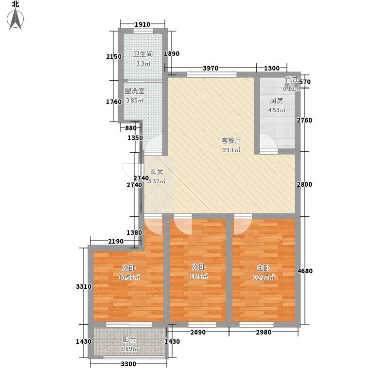 万基宝通家园115.40㎡橙上城E户型3室2厅1卫1厨