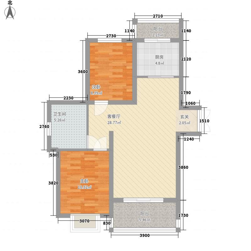 新希望乐城户型图2、3、4号楼A户型 2室2厅1卫1厨