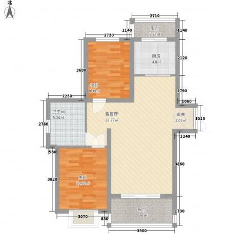 新希望乐城2室1厅1卫1厨90.00㎡户型图