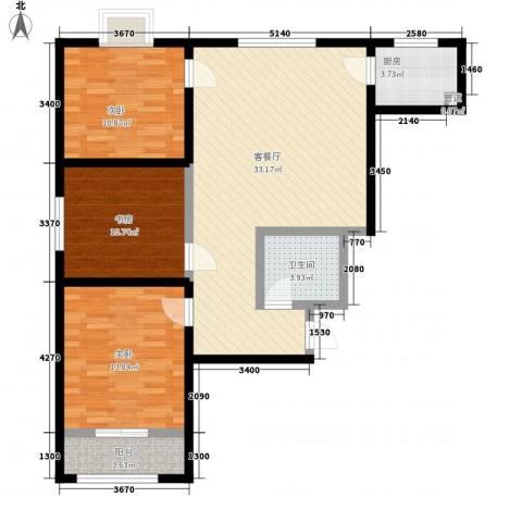 景泰花苑3室1厅1卫1厨115.00㎡户型图