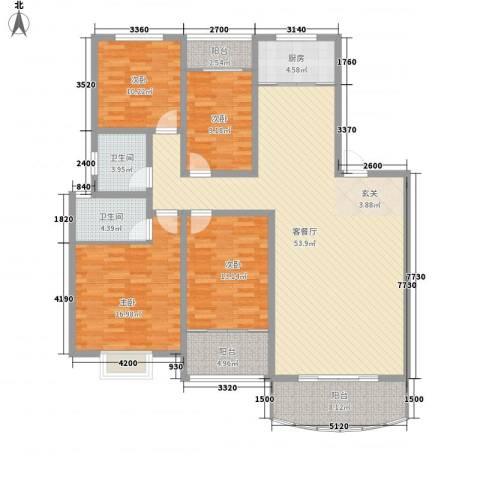 东城花园4室1厅2卫1厨131.96㎡户型图