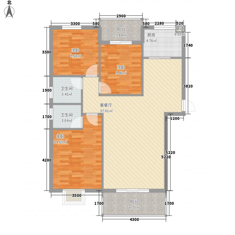 海润・黄金海岸116.31㎡6、8、9、10、12号楼A型户型3室2厅2卫1厨