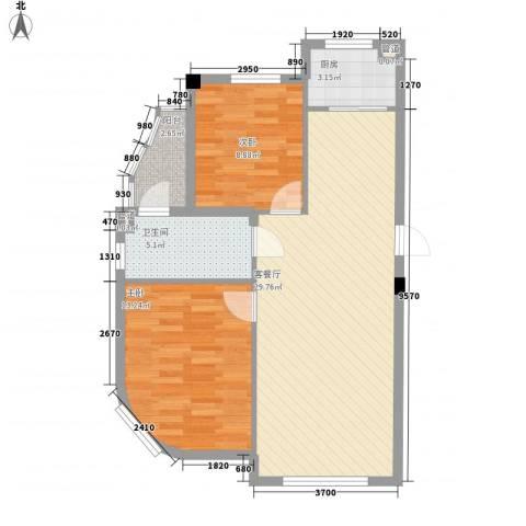 光伸绿洲半岛北岸2室1厅1卫1厨87.00㎡户型图