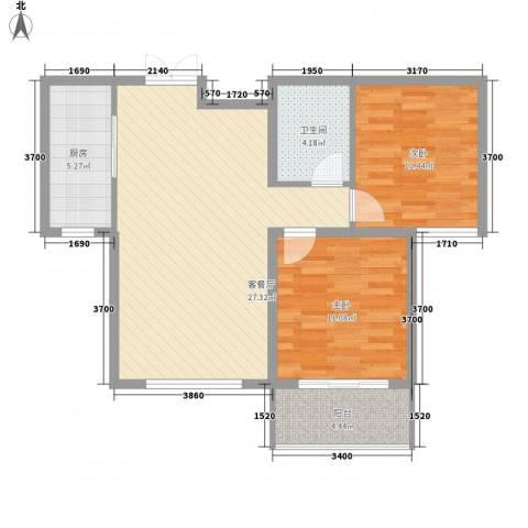 馨园丽景2室1厅1卫1厨82.00㎡户型图