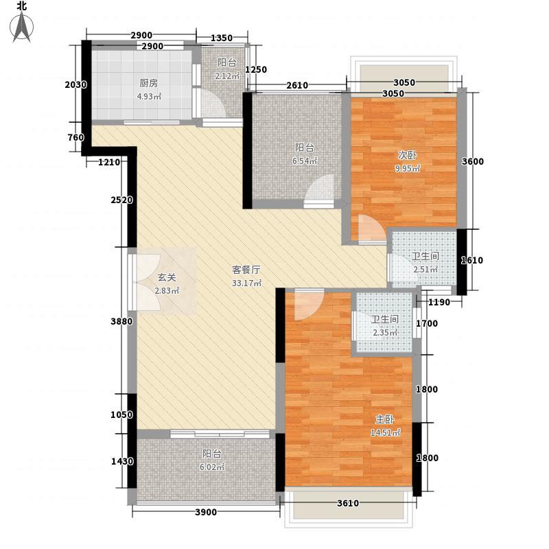 汇景湾三期28栋标准层02单元户型2室2厅2卫1厨
