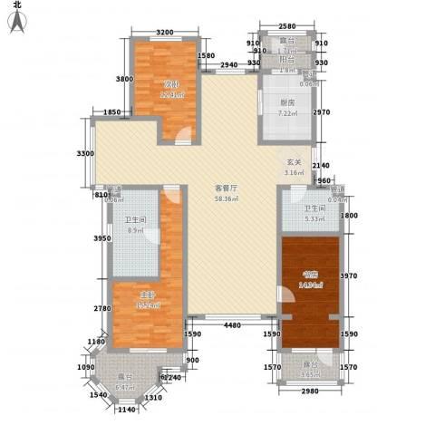御龙仙语湾3室1厅2卫1厨155.61㎡户型图