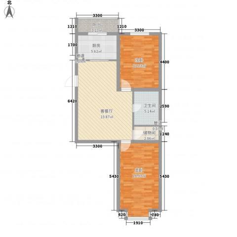 紫郡城2室1厅1卫1厨86.00㎡户型图