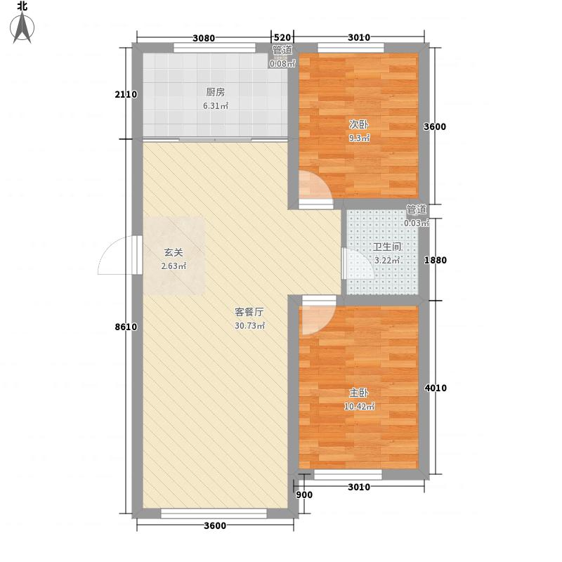 裕丰兴苑87.26㎡B户型2室2厅1卫1厨