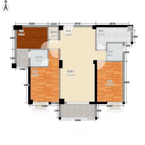 星河城市广场3室1厅2卫1厨124.00㎡户型图