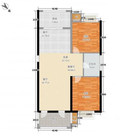 和顺中央花城2室1厅1卫1厨104.00㎡户型图
