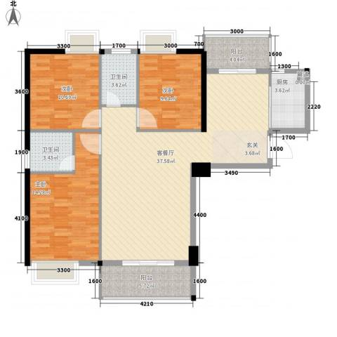 星河城市广场3室1厅2卫1厨130.00㎡户型图