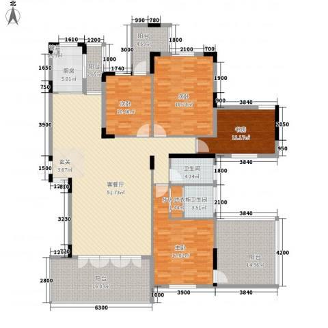 鲁能星城一街区4室1厅2卫1厨165.00㎡户型图