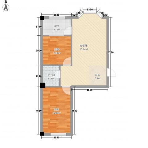 金园名城2室1厅1卫1厨72.00㎡户型图