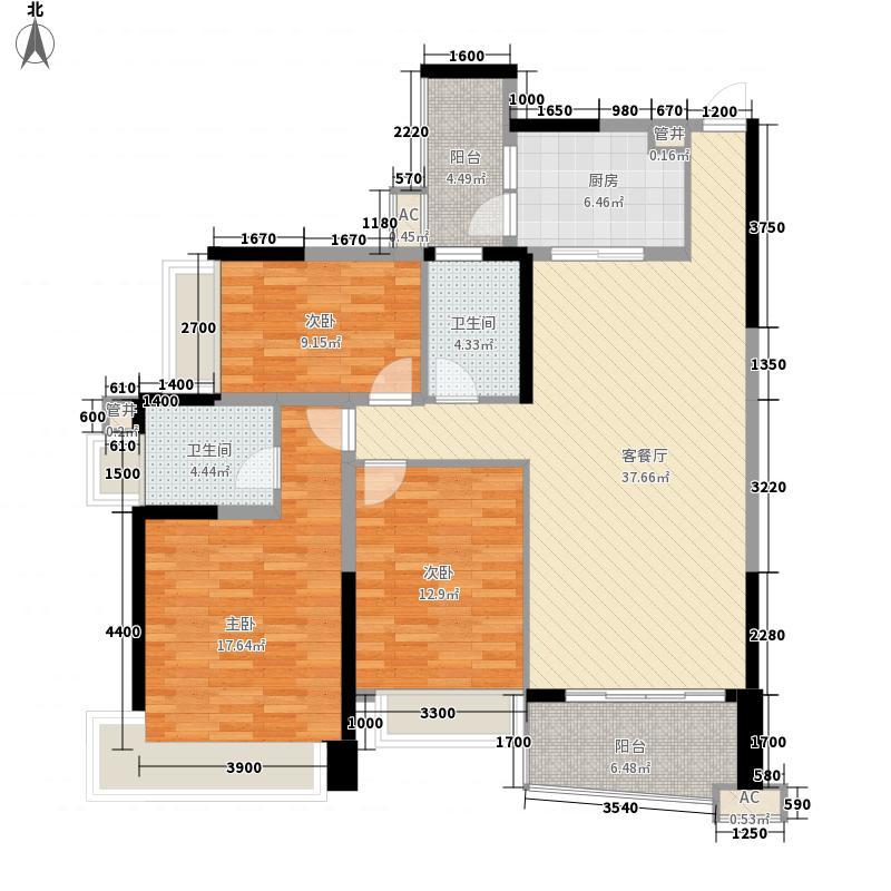 雅居乐御景名门134.00㎡21座0708单元户型3室2厅2卫1厨