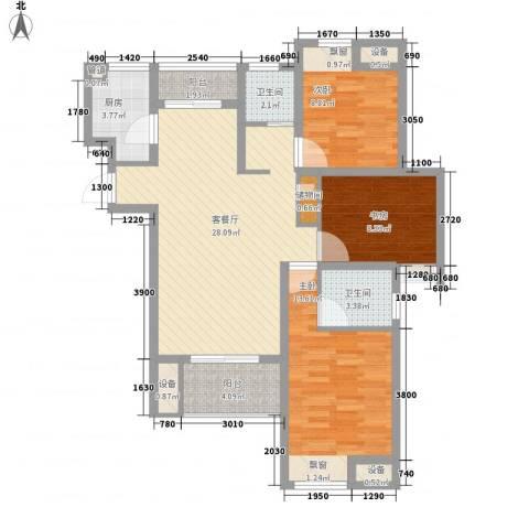 绿地商务城3室1厅2卫1厨114.00㎡户型图