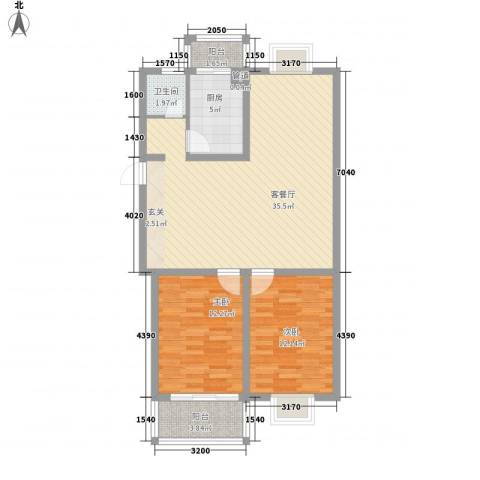 太湖花园三期2室1厅1卫1厨104.00㎡户型图