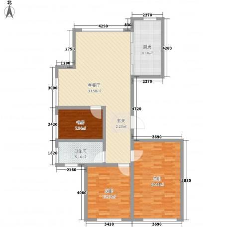 宝华・天泽府3室1厅1卫1厨122.00㎡户型图