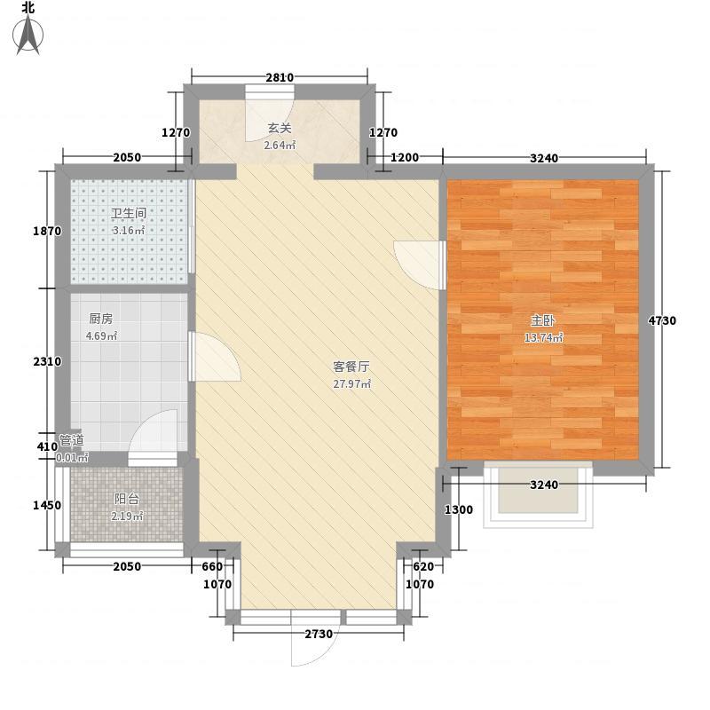 怡水湾63.00㎡D3户型1室1厅1卫1厨