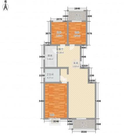 良园新居3室1厅1卫1厨134.00㎡户型图