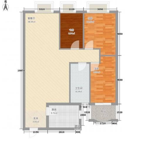 新浪屿花园3室1厅1卫1厨113.00㎡户型图