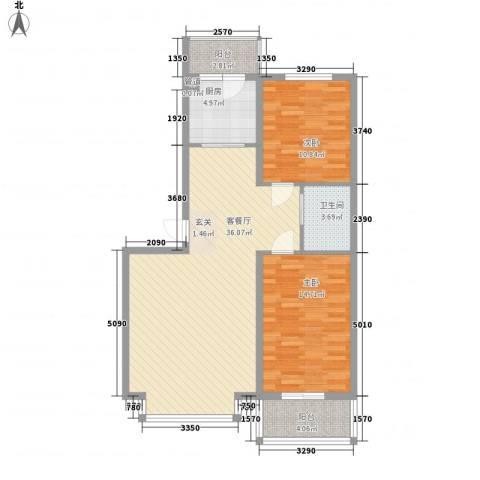 怡水湾2室1厅1卫1厨77.21㎡户型图