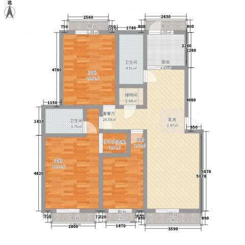 凤凰花园3室1厅2卫1厨142.00㎡户型图