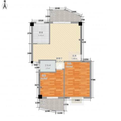 建昌99度城2室1厅1卫1厨96.00㎡户型图