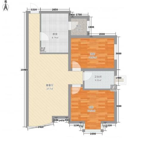 紫郡城2室1厅1卫1厨90.00㎡户型图