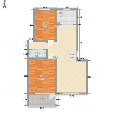 幸福泉城尚郡2室1厅1卫1厨101.00㎡户型图
