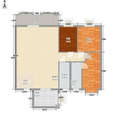 新浪屿花园3室1厅2卫1厨134.00㎡户型图