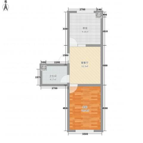 绿扬新苑1室1厅1卫1厨55.00㎡户型图