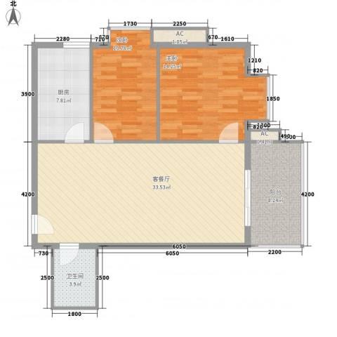 南方星座2室1厅1卫1厨110.00㎡户型图