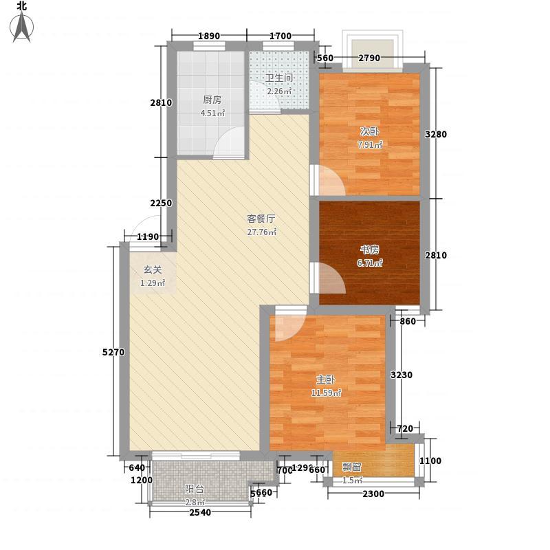明园小区户型3室2厅1卫1厨